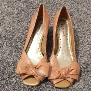 BCBGirls tan peep toe wedge 7.5M